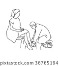 Neurologist using small hammer to test ankle joint 36765194
