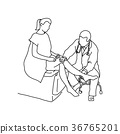 Doctor examining knee joint of female patient  36765201