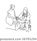 Doctor examining right knee joint of patient 36765204
