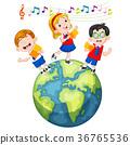 school children singing on the globe 36765536