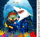 Cartoon boy diving in the sea with shark 36765567