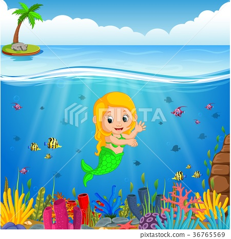 Cartoon mermaid underwater 36765569