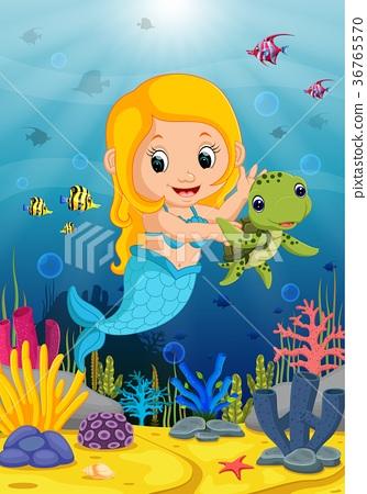 Cartoon mermaid underwater wtih turtle 36765570