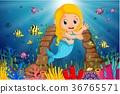 Cartoon mermaid underwater 36765571