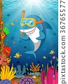 Cartoon shark under the sea 36765577