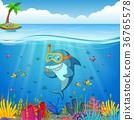 Cartoon shark under the sea 36765578