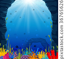 Underwater scene with tropical coral reef 36765626