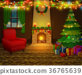 Christmas fireplace with xmas tree, presents  36765639