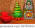 Christmas fireplace with xmas tree, presents  36765641