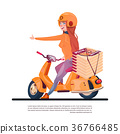 Pizza Delivery Service Young Girl Riding Electric 36766485
