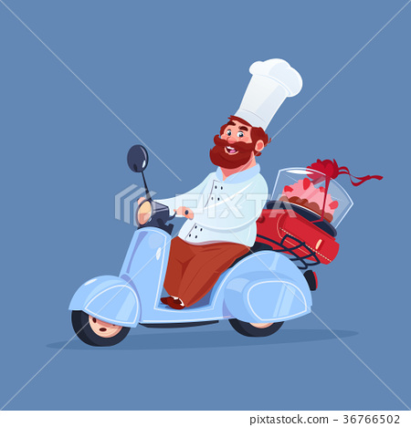 Chef Cook Riding Electric Scooter Delivery Of Cake 36766502