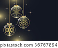 Golden snowflake in hanging glossy glass 36767894