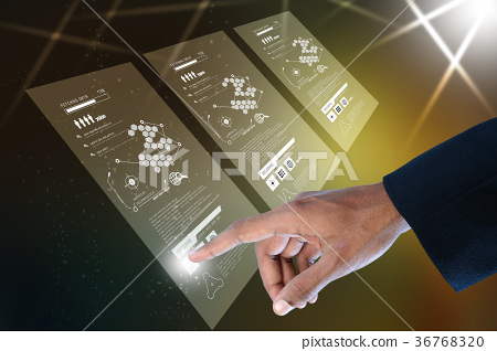 Businessman pressing virtual buttons 36768320