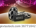 Film Reels and Clapper board 36771642