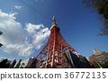 ท้องฟ้าสีครามและเมฆและโตเกียวทาวเวอร์ 36772135