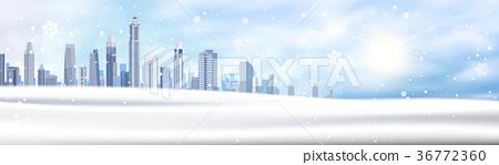 Winter Background Snowy City Landscape Horizontal 36772360