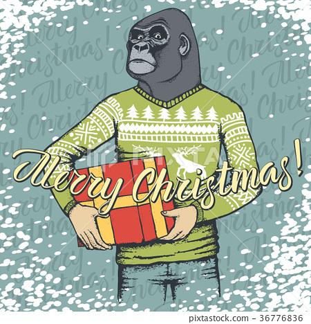 Monkey vector Christmas concept 36776836