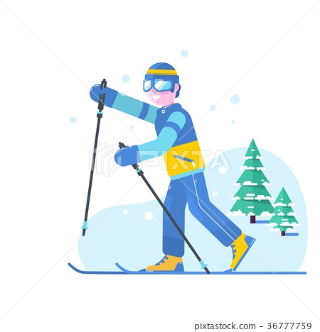 People skiing flat style design. Skis isolated 36777759
