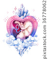 Watercolor embryo inside the womb with fantasy 36778062
