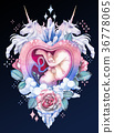 Watercolor embryo inside the womb with fantasy 36778065