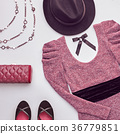 Fashion Set. Top view. Stylish Fall Autumn Outfit 36779851
