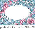 Watercolor design with roses and leaves 36781679
