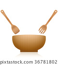 Salad Servers Bowl Wooden Set 36781802