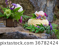 Nature Styled Wedding Cake on River Rock 36782424