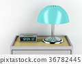 Nightstand with alarm clock and lamp 36782445