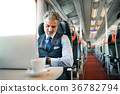 Mature businessman with laptop travelling by train 36782794