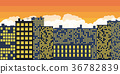 Sunset Over The City. Vector 36782839