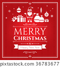 Set of christmas icons on red background 36783677