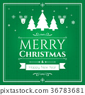 Set of christmas icons on green background 36783681