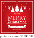 Set of christmas icons on red background 36783682