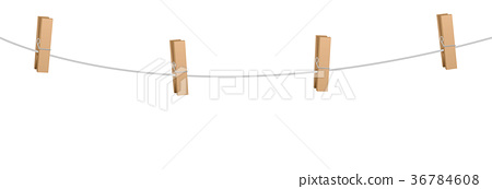 Clothes Pins Four Wooden Pegs Clothes Line Rope 36784608