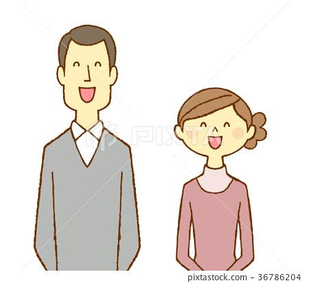 一對30多歲的夫婦笑了起來 36786204