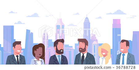 Group Of Business People Over Modern City 36788728