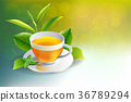 Black tea cup with mint leaves isolated 36789294