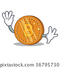 Waving bitcoin coin character cartoon 36795730