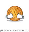 Crying bitcoin coin character cartoon 36795762