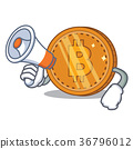 With megaphone bitcoin coin character cartoon 36796012