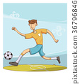soccer player hit the ball. 36796846