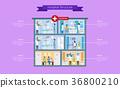 Hospital Structure Description Vector Illustration 36800210