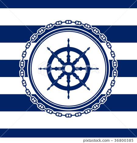 Round Marine Emblem with Ship's Wheel 36800385