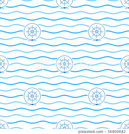 Blue Ship's Wheel , Seamless Pattern 36800682