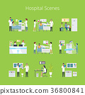 Hospital Scenes and Services Vector Illustration 36800841