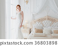 Gentle bride in a wedding dress. 36803898