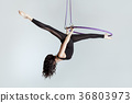 Woman aerial acrobat on the ring. 36803973