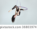 Woman is an acrobat in a hula hoopa. 36803974