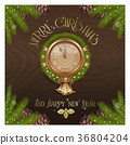 New Year round clock with Christmas wreath 36804204